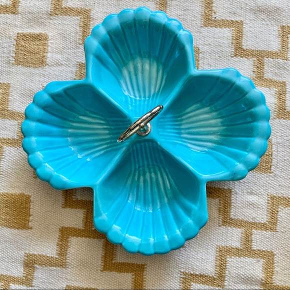 Vintage Other - Vintage Turquoise Shell Bowl CA Pottery Large MCM
